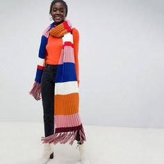 Find the best selection of ASOS DESIGN knitted multi stripe super long scarf with tassels. Shop today with free delivery and returns (Ts&Cs apply) with ASOS! Scarves Uk, Womens Scarves, Asos, Cold Weather Outfits, Striped Scarves, Knitted Poncho, Knitting Accessories, Knit Fashion, Long Scarf