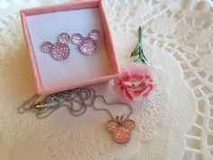 MOUSE EARS Necklace and Earrings for Wedding Party by HairSwirls1