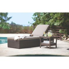 Heatherstone Wicker Patio Chaise Lounge Seafoam Threshold Patio