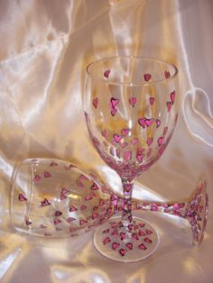 Hand Painted Mini Heart Wine Glasses (Sold in Pairs). Perfect Gift for Valentines Day! $35 Via Etsy!