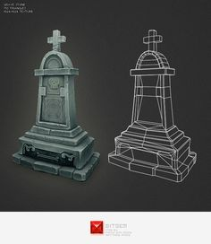 Low Poly Grave Stone 04 - 3DOcean Item for Sale