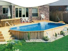 Above Ground Pools Designs with backyard - I like the way the pool doesn't stand out like an eyesore.