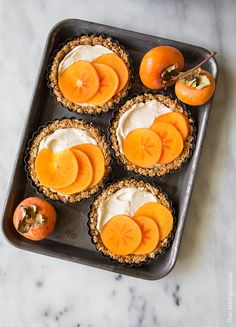 Brûléed Persimmon Tart with maple cinnamon cream cheese