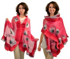 Silk shawl, scarf, felted silk wool Merino. Raspberry, pink, gray - Unique Nuno felted Art by MerinoSilk on Etsy
