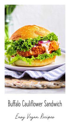 Buffalo cauliflower, buffalo cauliflower sandwich, vegan recipes, vegan dinner ideas, healthy dinner recipes, cauliflower recipes #buffalocauliflower Vegan Sandwich Recipes, Vegan Dinner Recipes, Entree Recipes, Delicious Vegan Recipes, Vegan Dinners, Lunches And Dinners, Vegetarian Recipes, Vegan Sandwiches, Healthy Recipes