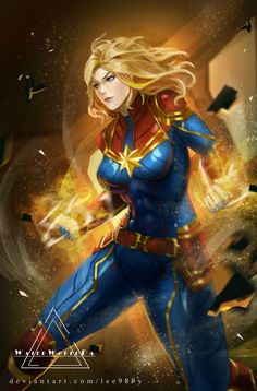 Captain Marvel by on DeviantArt Ms Marvel, Marvel Avengers, Wanda Marvel, Marvel Comics Art, Marvel Women, Marvel Girls, Comics Girls, Marvel Heroes, Marvel Characters