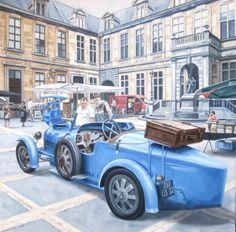 Oldtimer schilderij - Paul Vereecke - Bugatti - Olieverf op doek - 70 x 70 cm.