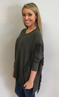 Faithful Fringe Top in Olive $75