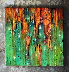 ARTFINDER: Abstract painting, mixed media canvas... by Maria Fondler-Grossbaum - This unusual mixed media diptych painting is titled Emerald City #2. This piece has thick layers of paint in a variety of colorus, rhinestones, modeling and ...
