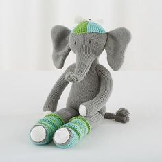 "$29 14"" tall, matches the guest bedroom decor perfectly, but I really like the contrasting cat for a pop of color. Decisions, decisions! The Knit Crowd Elephant  