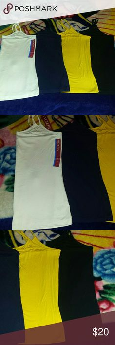 Ladies size Large Camis New without tags and one new with tags. Colors include: -Off white -Dark blue -Black -Mustard yellow 4 camis total Has adjustable strap but no built in bra. Very lightwieght and perfect for summer. Merona Tops