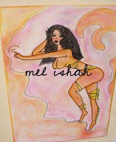 #nude #blackgirl #morena #hair #black #pinp up #smoke #tits #paint #painting #tizapastel