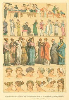 Image Title: Cuadro de costumbres, trajes y tocados de los griegos. Creator: Hottenroth, Friedrich, b. 1840 -- Artist