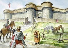 Reconstruction of the South Barbican of Helmsley Castle in the 13th Century by Philip Corke