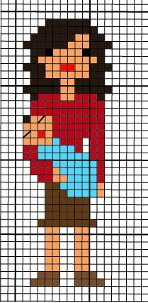 Free patterns for cross stitch family portrait--mom holding a baby