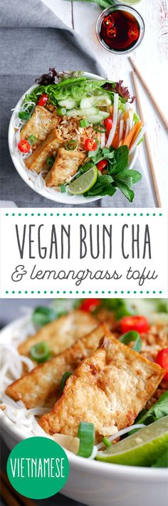 Vietnamese vegan bun cha with lemongrass tofu