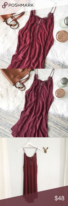 """{free people} Parisian slip dress ✨Free People Parisian Night slip dress-pansy color✨  ➳ nwt-there is however a tiny hole/snag at the top of the back/neck as shown  ➳ eyelash lace trimmed plunging v-neck, romantic chemise style, high-low hem with small front slit ➳ approx 34"""" long 100% rayon  ☞ size small  ❥ no trades ❥ please check photos & ask all questions prior to purchase Free People Dresses High Low"""