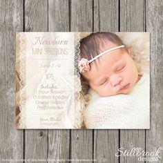 Newborn Mini Session Template Marketing Board - Newborn Birth Advertising Flyer for Photographers