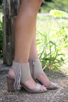 Very Volatile Vermont Taupe Fringe Ankle Cuff Stacked Heel Sandals