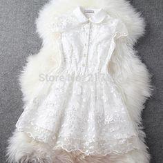 2014 New European America Brand Women Spring Summer Organza Embroidery Bodycon Polo Collar White/Pink Ladies Elegant Dress