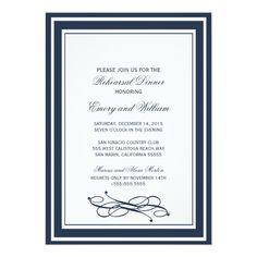 Navy blue Rehearsal Dinner Invitations