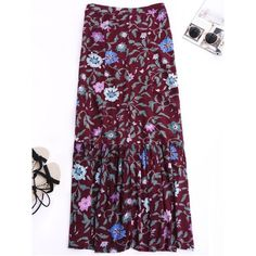 Maxi Buttoned Slit Floral Skirt ($21) ❤ liked on Polyvore featuring skirts, long maxi skirts, slit skirt, long slit maxi skirt, long floral maxi skirt and floral print long skirt