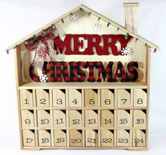 Wooden Advent Calendar Large Size Countdown by OurMomsTouch Christmas Calendar, Family Christmas, Merry Christmas, Countdown Calendar, Advent Calendars, Family Traditions, Christmas Traditions, Wooden House Advent Calendar, Advent For Kids