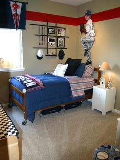 Kids Bedroom Ideas : Ideas for Your Boys:Sporty Kids Bedroom Ideas Brown Rug White Table Blue Bed Baseball Wall Painting Free Download Photo Kids Bedroom Ideas