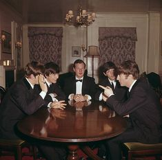 Brian and the boys photographed at George V Hotel, Paris on 1st February 1964. On this day Brian held a celebration dinner there to mark the Beatles first number one in America. Pics: Paul Popper / Popperfoto.