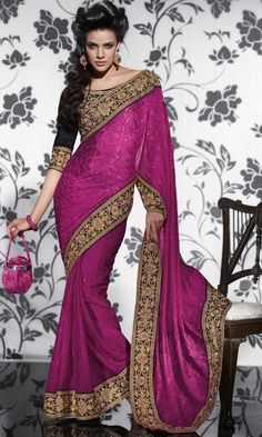 #Stone Work #Embroidered Saree With Blouse