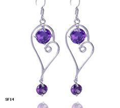 $3.38  55mm 925 Sterling Silver Women Amethyst Crystal Heart Charm Earring Eardrop