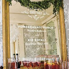 Good idea for demilune over bar in dining room Removable letters used Unexpected Bar Menu - Christmas Party Ideas: Glam Christmas Cocktail - Southern Living Nice Cocktails, Cocktails For Parties, Cocktail Menu, Drinks, Christmas Cocktail Party, Christmas Cocktails, Holiday Parties, Gold Framed Mirror, Bar Menu
