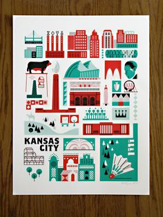 Want!! - Kansas City Landmark Print. $25.00, via Etsy.