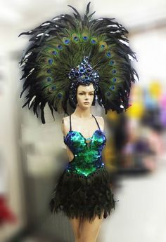 T014 Dance Drag Peacock Headdress Costume XS-XL by DaNeeNa on Etsy
