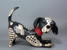 Playful Clay Dog Sculpture  -  CrissCross, The Puzzle Prodigy. $155.00, via Etsy.