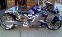 Suzuki Hayabusa , stretched , blue silver http://www.PashnitBusa.com #hayabusa #pashnit