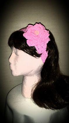 Crocheted rose flower headband