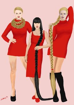 Crimson and the Twins (Linda and Lucy) by JohnHeavy.deviantart.com on @DeviantArt