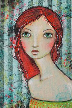 "Original OOAK 4 x 6 Mixed Media acrylic colored pencil ""Gypsy"" A Kennedy portrait woman red neon"