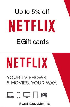 Netflix, up to off eGift cards, Netflix discounted gift cards can be used to pay for Netflix subscriptions Netflix Discount, Netflix Gift Card, Discount Gift Cards, Netflix Originals, Kids Shows, Saving Money, Coding, Gifts