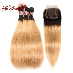 Westkiss Colored #27 Blonde Bundles With Closure Honey Blonde Body Wave Bundles With Closure Bleached Hair Remy Human Hair Weave Human Hair Weaves 3/4 Bundles With Closure