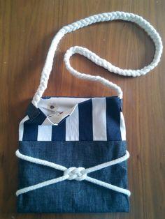 Gemici düğümlü kot çanta