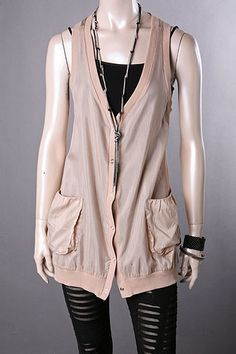 NEW Cocoa Sheer Snap Button Sleeveless Vest Size Small