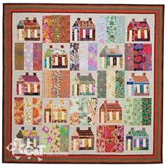 Happy Houses, 70 1/2″ x 70 1/2″, pieced by Bobbi Finley, machine quilted by Holly Casey. In:  Fresh Perspectives: Reinterpreting 18 Classic Quilts.