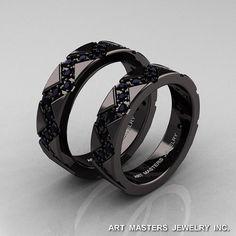 Classic Armenian 14K Black Gold Black Diamond by artmasters, $3299.00