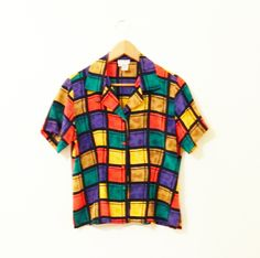 Silk Vintage Rubiks Cube Blouse / 80s Silk Button Down Blouse / Vintage Colorblock Shirt by thehappyforest on Etsy