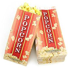 Amazon.com: 100 Popcorn Serving Bags - Pinch Bottom Paper Bag Style: Kitchen & Dining