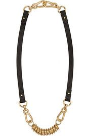 Finds+ Moxham leather and gold-plated necklace