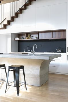 Bronte House By Sam Crawford Architects; Formed #concrete Kitchen Island. Kitchen  Under StairsBronte HouseConcrete KitchenInterior Design ...