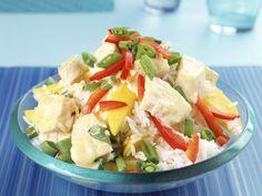 Reis-Paprika-Salat mit Mango und gekochtem Curryhähnchen - smarter - Zeit: 25…